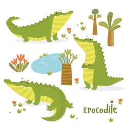 vector set of crocodiles. Cartoon crocodiles. Cartoon character. Tropics. African animal.