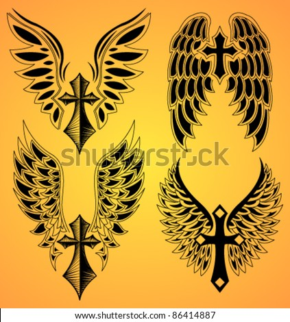 stock vector Vector Set of cross and wings tattoo elements