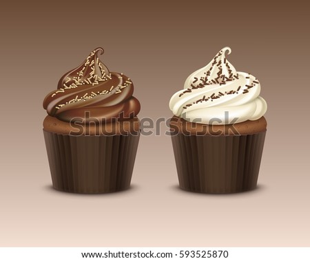 vector set of cupcake with