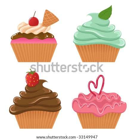 Vector set of cupcakes