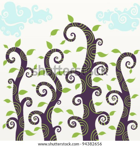 Vector set of curly trees with leaves