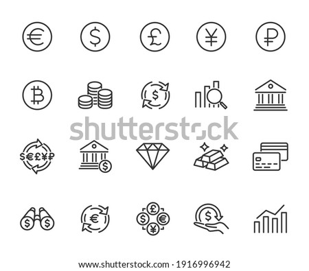 Vector set of currency line icons. Contains icons investment, exchange rate, bank deposit, coin, financial forecast, bank and more. Pixel perfect.