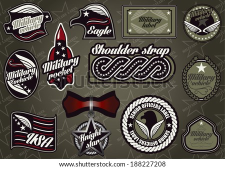 Vector set of customizable military style labels