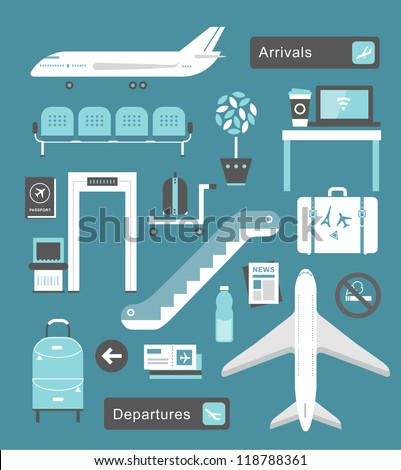 vector set of cute airport