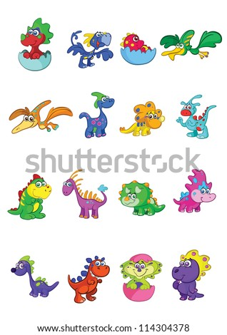 vector set of 16 cute and colorful baby dino's