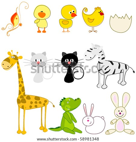 Vector set of cute and funny animals