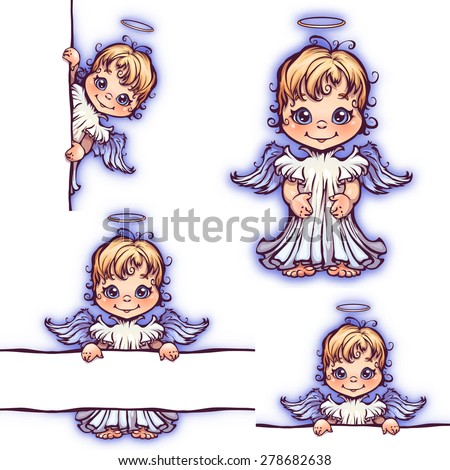 vector set of cute angel with