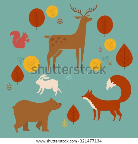vector set of cute animals in