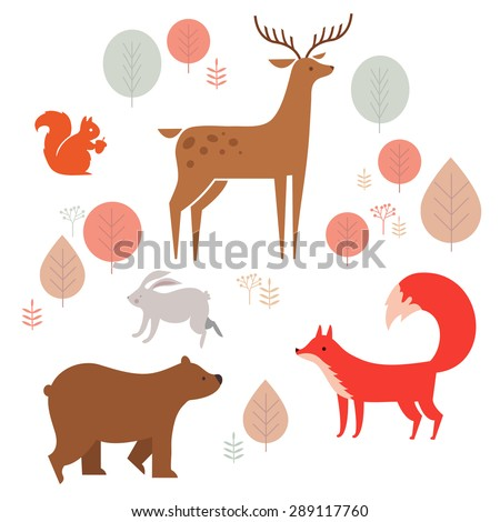 vector set of cute animals in