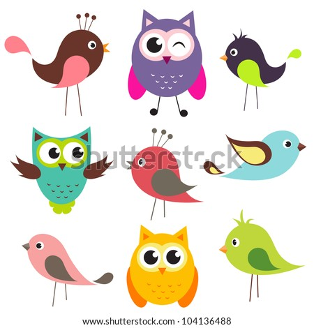 vector set of cute birds - stock vector