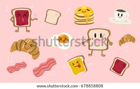 vector set of cute breakfast