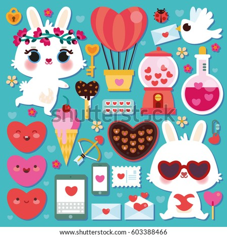 vector set of cute bunnies and