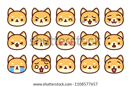 Vector Set Of Cute Cartoon Dog Icons Isolated