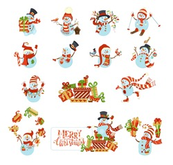 Vector set of cute cartoon snowmen. Snowmen are skating, skiing and singing. One is with blank tablet on a heap of gifts. Candy, Christmas gifts, garland, baubles, birds, birdhouse.