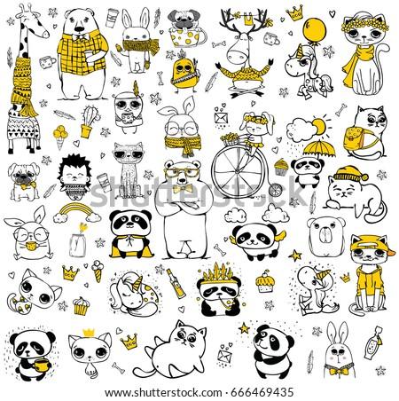 vector set of cute doodle