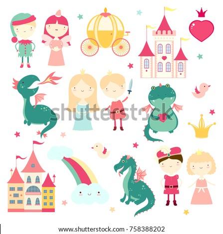 vector set of cute fairy tale