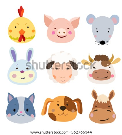 Vector Set of Cute Farm Animals and Pets Faces Isolated on White.
