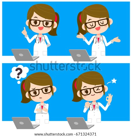 Vector set of cute female doctor showing different actions with computer labtop.