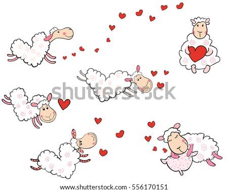 vector set of cute flying sheep