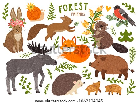 Vector set of cute forest animals: fox, hedgehog, wild boar with baby, rabbit, elk, squirrel, beaver, snail, bullfinch. Cartoon characters are isolated on white.