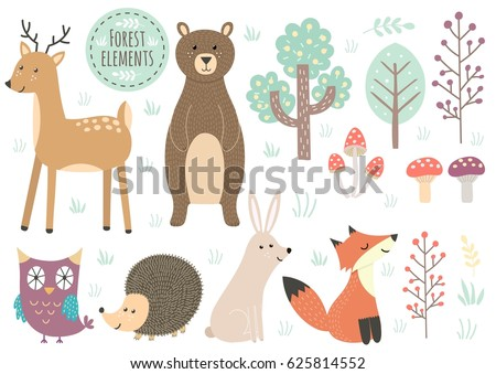 vector set of cute forest
