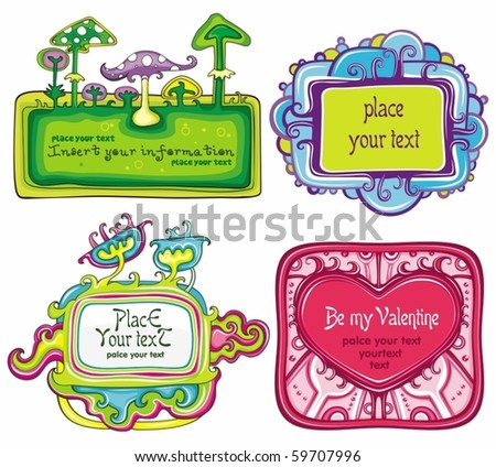 Vector set of cute frames, with space for your text