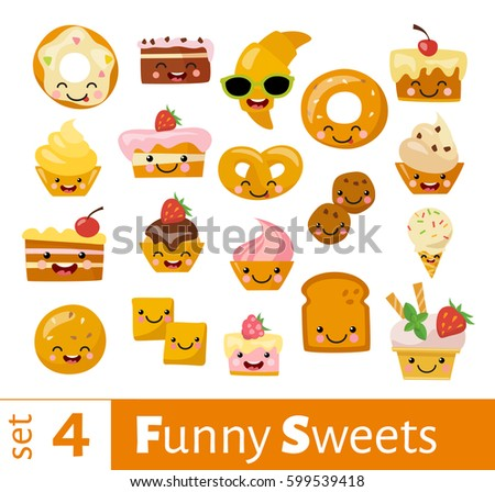 Stock Photo Vector set of cute funny food icons. Smiling sweets.