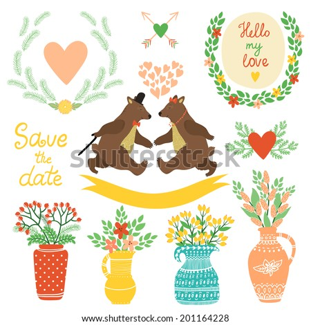 Vector set of cute hand drawing elements wreathes hearts flowers vases with bouquets heart with arrows ribbon couple of dancing bears Bright floral decor elements