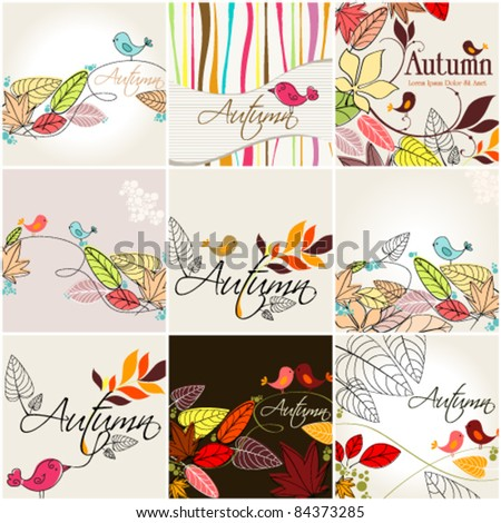 Vector set of cute hand drawn style autumn illustrations