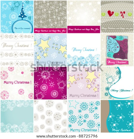 Vector set of cute hand drawn style Christmas illustrations