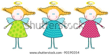 Vector set of cute, hand drawn style illustration of cute angels