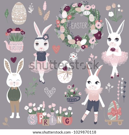 vector set of cute happy easter