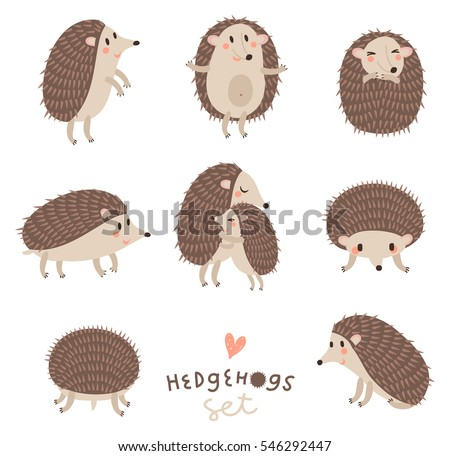 vector set of cute hedgehogs