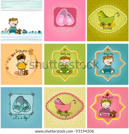 vector set of cute illustrated doodle Baby arrival cards