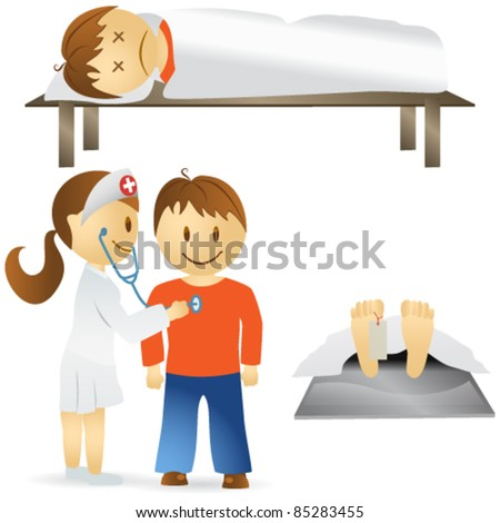Vector set of cute illustrations of different medical situations: - sickness, death, woman doctor examining man with stethoscope