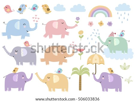 Vector set of cute isolated elephants. Great for baby shower and kids design. Elephants, birds, palm, clouds, flowers and rainbow