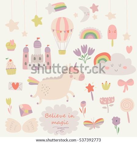 vector set of cute little