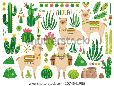 Vector set of cute llamas and cacti. Bright summer poster with alpacas, cactus and phrase