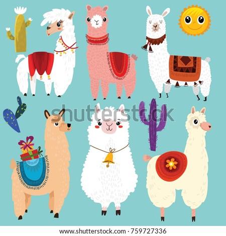 vector set of cute llamas6