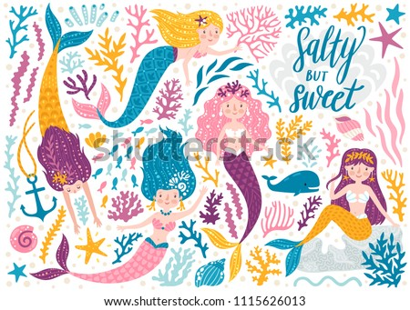 Vector set of cute mermaids and sea plants. Funny cartoon characters and corals are isolated on white. Summer clipart with mermaid girls. Сток-фото ©