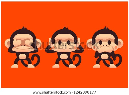 vector set of cute monkey