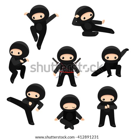 vector set of cute ninjas in