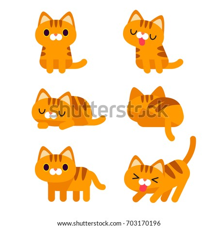 Vector set of cute orange short hair tabby cat characters in different action poses isolated on white background.