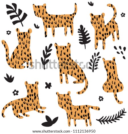 vector set of cute panthers with texture