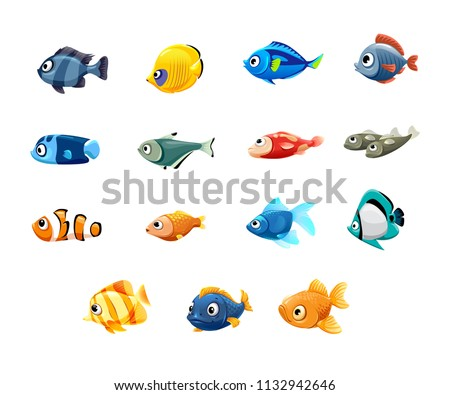 vector set of cute pet shop, fish, tropical fish, aquarium fish, clown fish, sardines, goldfish, sailboat