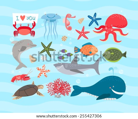 vector set of cute sea animals