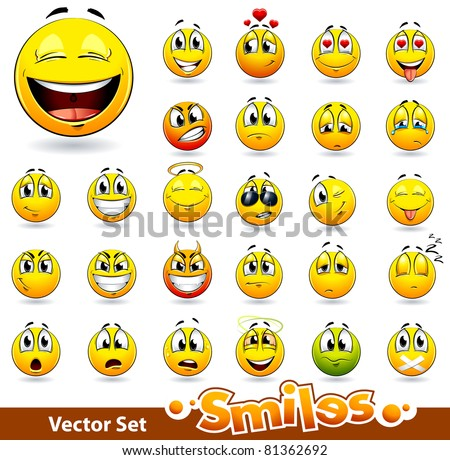 Vector set of cute smile-balls All elements are grouped.