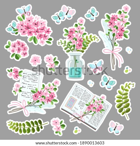 Vector set of cute stickers with delicate flowers, a book, a fern, butterflies, a letter, a bouquet of flowers in a jar. Valentine's Day, Anniversary, Save the Date, Wedding, Birthday