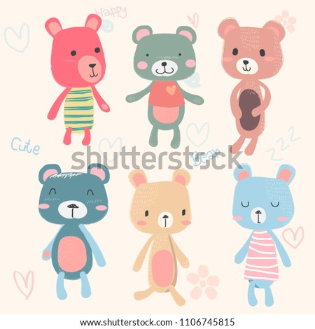 vector set of cute teddy bears cartoon character hand drawing in pastel colour, baby and childish printing