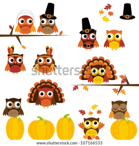 Vector Set of Cute Thanksgiving Owls
